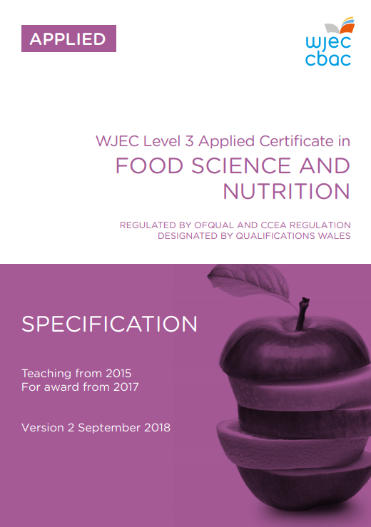 Applied Certificate in Food Science and Nutrition Specification